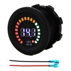IZTOSS Colorful LED Display Warning Car Voltmeter - Black