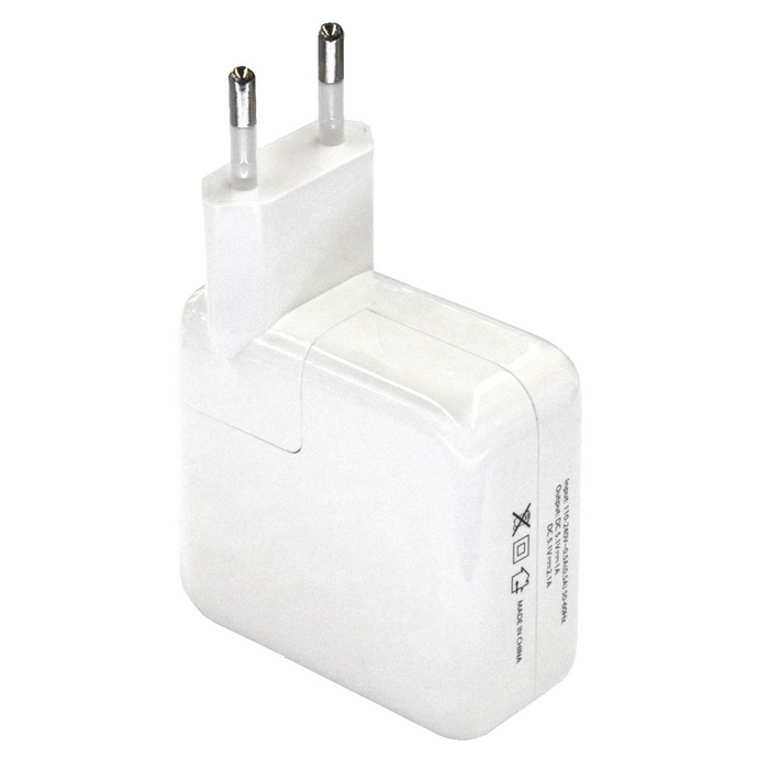 4USB AC 110~240V 1-to-2 EU Plug Power Charger - White