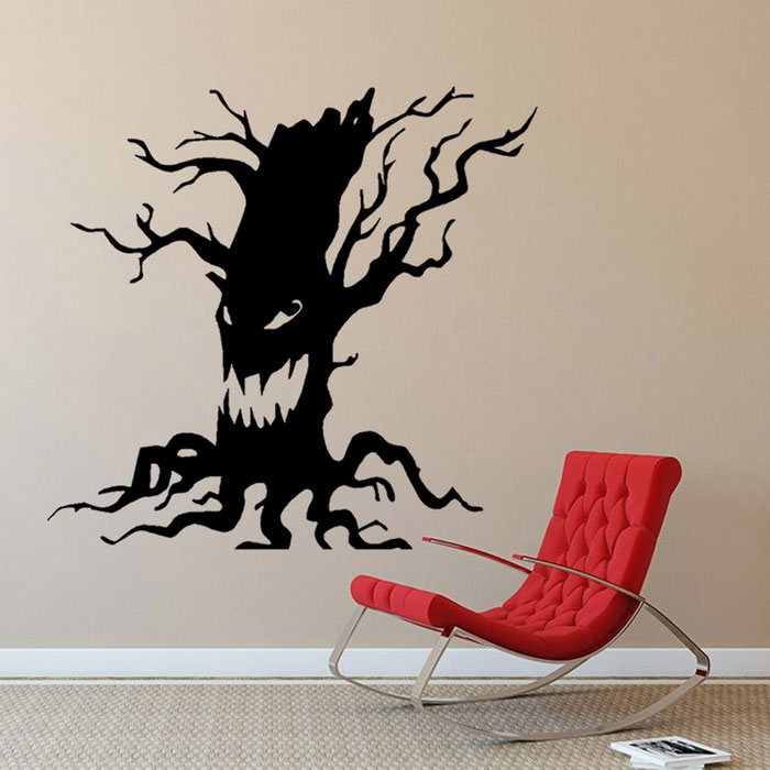 Desprendible DIY 3D Halloween Ghost Árbol decorativo Wall Sticker - Negro