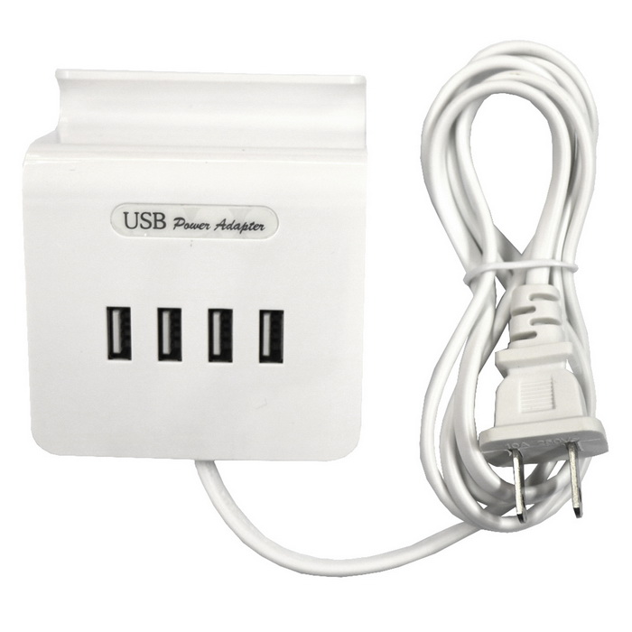 20W 100~240V 4-USB 4A USB Charging Socket Phone Holder (US Plugs)Plugs &amp; Sockets<br>Form  ColorWhiteQuantity1 DX.PCM.Model.AttributeModel.UnitMaterialABS plasticFireproof MaterialNoRate VoltageAC 100~240V;50/60Hz.Rated Current4 DX.PCM.Model.AttributeModel.UnitRated Power20 DX.PCM.Model.AttributeModel.UnitCompatible PlugOthers,USBGroundingNoOutlet4 DX.PCM.Model.AttributeModel.UnitWith Switch ControlNoSurge Protection FunctionYesLightning Protection FunctionYesWith FuseYesCable Length1.5 DX.PCM.Model.AttributeModel.UnitPower AdapterUS PlugPacking List1 * Charger<br>