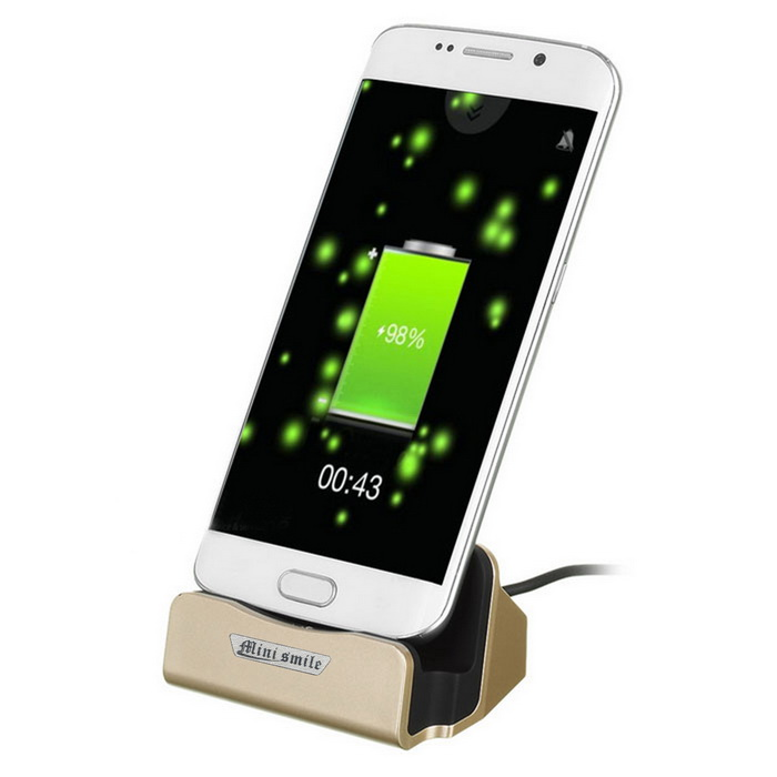 Mini Smile Micro USB OTG Charging Dock w/ Data Cable - GoldenDocks &amp; Cradles<br>Form  ColorGoldenModelN/AMaterialABSQuantity1 DX.PCM.Model.AttributeModel.UnitCompatible ModelsSamsung / Xiaomi / Meizu / Huawei etc.Compatible Size(inch)Micro USB devicesFunctionsOTGOutput Current1 DX.PCM.Model.AttributeModel.UnitOutput Voltage5 DX.PCM.Model.AttributeModel.UnitInput Current1 DX.PCM.Model.AttributeModel.UnitInput Voltage5 DX.PCM.Model.AttributeModel.UnitConnectorUSB,Micro USBConnectorsmicro USB v2.0,OTG,Micro USBPacking List1 * Mobile phone charger<br>
