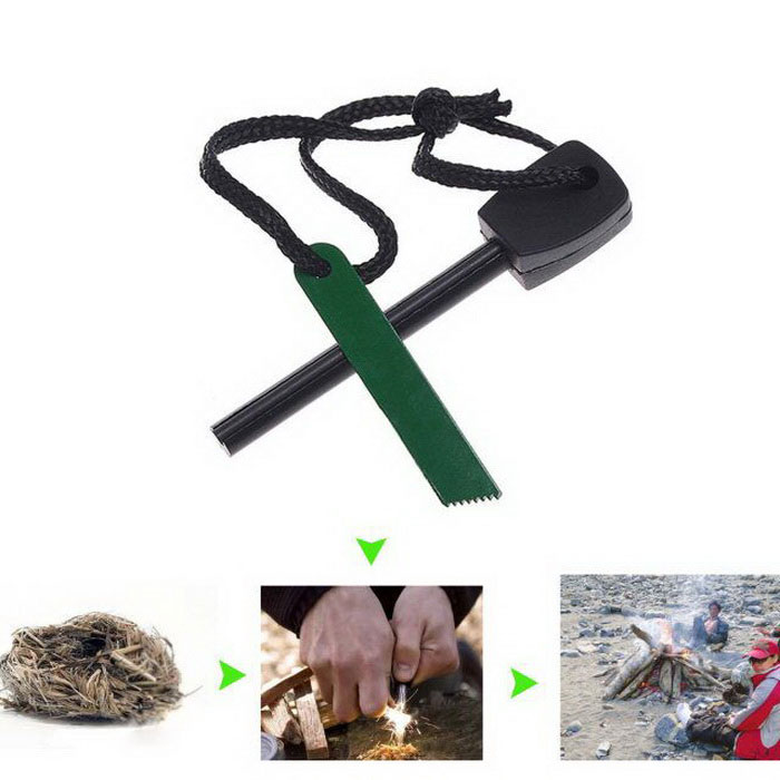 Picnic Camping Magnesium Rod Flint Fire Starter Striker Stone LighterFire Starting Gear<br>Form  ColorBlack + Army GreenModelWCSDD0002Quantity1 DX.PCM.Model.AttributeModel.UnitMaterialMagnesium Rod, ironBest UseBackpacking,Camping,Mountaineering,Others,explorationPacking List1 * Magnesium rods Fire Starter<br>