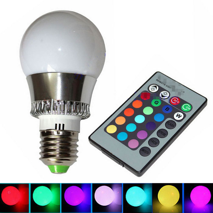 Buy CXHEXIN E27 3W RGB LED Globe Bulb w/ Remote Controller (AC 85-26) with Litecoins with Free Shipping on Gipsybee.com