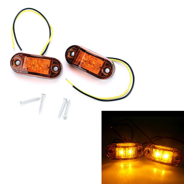 Orange LED Light Piranha Style Universal Side Light for TruckesDecorative Lights / Strip<br>Color BINOrangeModelD636-2-ZQuantity2 DX.PCM.Model.AttributeModel.UnitMaterialDurable plasticsForm  ColorOrangeEmitter TypeLEDChip BrandOthers,-Total Emitters2Rate Voltage12-24VPower2WActual Lumens14 DX.PCM.Model.AttributeModel.UnitWater-proofYesApplicationDecoration lightOther Features1. Line length: 170mm<br>2. Wiring way: 2<br>3. The length of the screw hole: 48mmPacking List2 * Orange Side Marker Light4 * Screws<br>