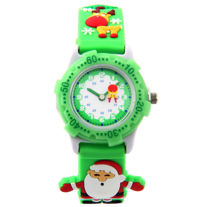 Creative Cute 3D Silicone Santa Figure Watch for Children - GreenChildren Watches<br>Form  ColorGreen + MulticoloredQuantity1 DX.PCM.Model.AttributeModel.UnitShade Of ColorGreenCasing MaterialPlasticWristband MaterialSilica GelSuitable forChildrenGenderUnisexStyleWrist WatchTypeFashion watchesDisplayAnalogMovementQuartzDisplay Format12 hour formatWater ResistantFor daily wear. Suitable for everyday use. Wearable while water is being splashed but not under any pressure.Dial Diameter1.8 DX.PCM.Model.AttributeModel.UnitDial Thickness1.2 DX.PCM.Model.AttributeModel.UnitBand Width1.8 DX.PCM.Model.AttributeModel.UnitWristband Length20 DX.PCM.Model.AttributeModel.UnitBattery1 x PC21sPacking List1 * Children Watch<br>