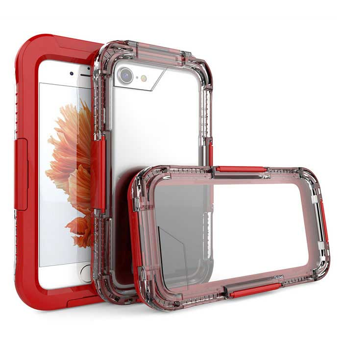 Waterproof Case and Touch Screen for IPHONE 7 - RedWaterproof Cases<br>Form  ColorRedModelN/AQuantity1 DX.PCM.Model.AttributeModel.UnitMaterialPCWaterproof LevelOthers,Waterproof ten metersCompatible ModelsiPhone 7Touch Control via CaseYesSuitable forCamping,Boating,Fishing,Swimming,Rainy DaysPacking List1 * Case<br>
