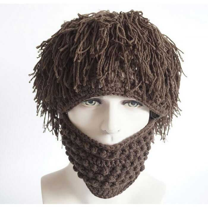 Buy P-TOP Vogue Wig Beard Hobo Hat Sloppy Caveman Handmade Knitted Hat with Litecoins with Free Shipping on Gipsybee.com
