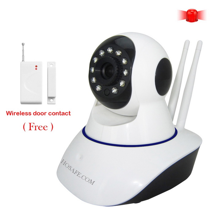 HOSAFE SV01 1.0MP 720P HD Home Security IP Camera w/ 11-IR-LED - WhiteIP Cameras<br>Form  ColorWhitePower AdapterEU PlugModelHOSAFE-SV01MaterialPlasticQuantity1 DX.PCM.Model.AttributeModel.UnitImage SensorCMOSImage Sensor SizeOthers,1/4 InchPixels1.0MPLens3.6mmViewing Angle90 DX.PCM.Model.AttributeModel.UnitVideo Compressed FormatH.264Picture Resolution1280 * 720PFrame Rate25fpsInput/OutputBuilt-in Microphone + SpeakerMinimum Illumination0 DX.PCM.Model.AttributeModel.UnitNight VisionYesIR-LED Quantity11Night Vision Distance15 DX.PCM.Model.AttributeModel.UnitWireless / WiFi802.11 b / g / nNetwork ProtocolTCP,IP,UDP,HTTP,SMTP,DHCP,uPnPSupported SystemsXP,Vista,7Supported BrowserIE 6.0 and above,Google Chrome,Firefox,OperaSIM Card SlotNoOnline Visitor5IP ModeDynamic,StaticMobile Phone PlatformAndroid,iOSFree DDNSYesIR-CUTYesBuilt-in Memory / RAMNoLocal MemoryNoMotorYesRotation AnglePan: 355 degrees; Tilt: 120 degreesSupported LanguagesEnglish,Simplified ChineseWater-proofNoRate Voltage5VRated Current2 DX.PCM.Model.AttributeModel.UnitPacking List1 * IP camera1 * Power adapter (AC 100~240V / EU plug / 120cm-cable)1 * Bracket1 * Screws kit1 * English user manual 1 * Wireless door contacts1 * Warning sticker<br>