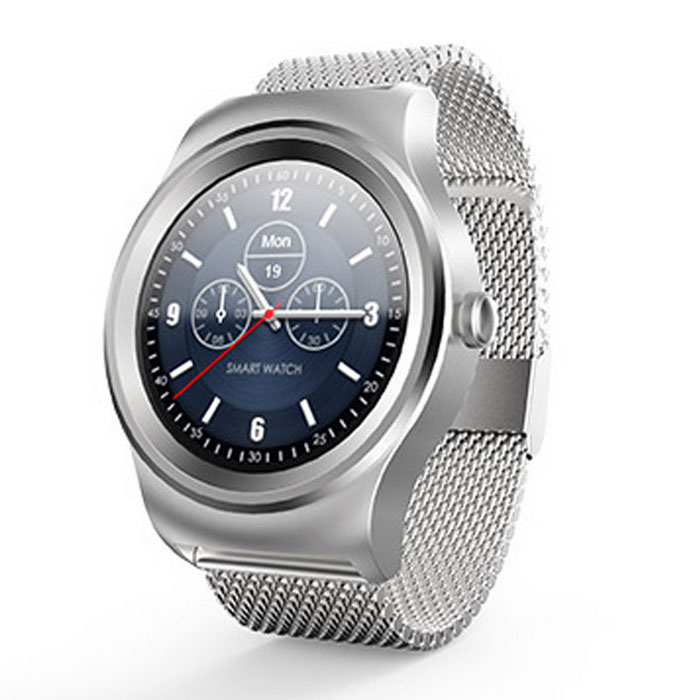 SMAWATCH Round Dual Bluetooth Smart Watch - Silver (Steel Band)