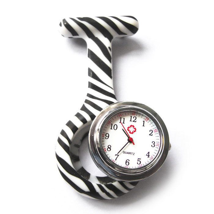Zebra Style Nurse Quartz Clip Pocket Watch - White + BlackNovelty Watches<br>Form  ColorWhite + Black + Multi-ColoredQuantity1 DX.PCM.Model.AttributeModel.UnitCasing MaterialalloyWristband MaterialSilica gelSuitable forAdultsGenderUnisexStylePocket WatchTypeFashion watchesDisplayAnalogBacklightNOMovementQuartzDisplay Format12 hour formatWater ResistantFor daily wear. Suitable for everyday use. Wearable while water is being splashed but not under any pressure.Dial Diameter3 DX.PCM.Model.AttributeModel.UnitDial Thickness0.8 DX.PCM.Model.AttributeModel.UnitWristband Length4.5 DX.PCM.Model.AttributeModel.UnitBand Width1 DX.PCM.Model.AttributeModel.UnitBattery1 * 377Packing List1 * Nurse Quartz Watch<br>