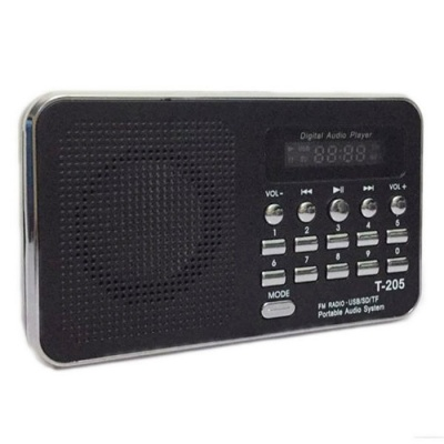 T-205 TF Card Speaker FM Radio MP3 Player with USB Cable - Black