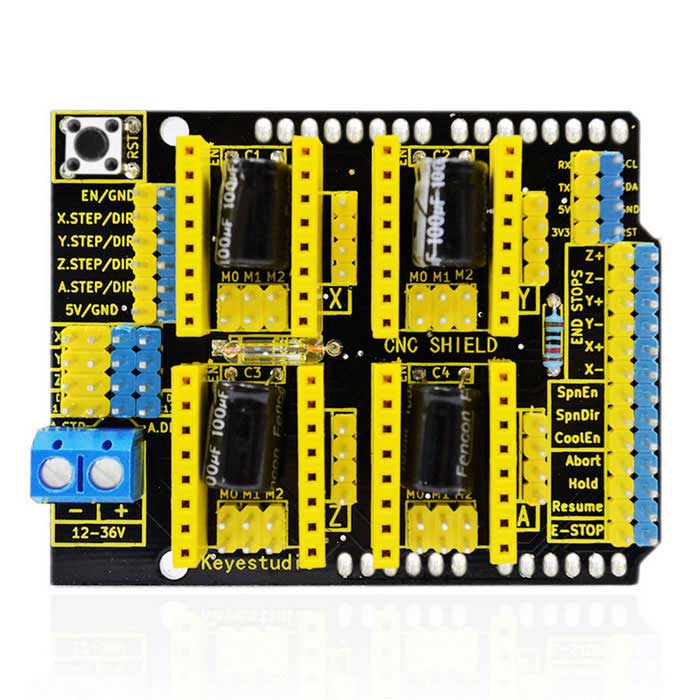 Keyestudio CNC Shield V3 Engraver Board for Arduino - Black + Yellow3D Printer Parts<br>Form  ColorBlack + YellowModelshield V3Quantity1 DX.PCM.Model.AttributeModel.UnitMaterialFR-4English Manual / SpecNoDownload Link   NOOther FeaturesType: Drive ICPacking List1 * V3 Engraver<br>