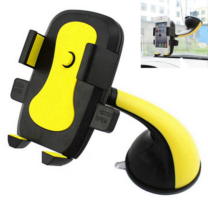 ZIQIAO 360 Suction Cup Type Mobile Phone Bracket - Black + YellowMounts &amp; Holders<br>Form  ColorBlack + YellowShade Of ColorBlackQuantity1 DX.PCM.Model.AttributeModel.UnitMaterialABSCompatible ModelsIPHONE 5S,IPHONE 5C,IPHONE 5,IPHONE 4,IPHONE 4S,IPHONE 3GS,IPHONE 3G,IPAD AIRCompatible SizeWidth 55 ~ 95 DX.PCM.Model.AttributeModel.UnitMount TypeOthers,Desktop / Car MountRotation360 DX.PCM.Model.AttributeModel.UnitWith ChargerNoPacking List1 * Car holder<br>