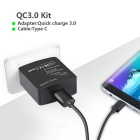 Itian K6 18W Quick Charge 3.0 Type C Travel Charger Kit - Black