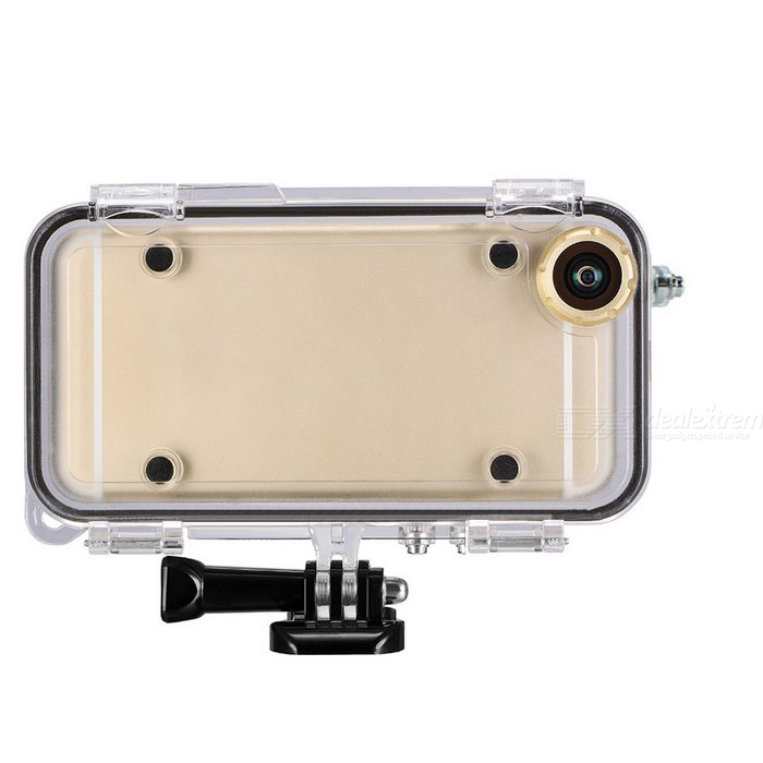 Waterproof Case w/ Wide-angle Lens, Gopro Connector for IPHONE 5/5S/SEWaterproof Cases<br>Form  ColorTransparentModelg-1075-5Quantity1 DX.PCM.Model.AttributeModel.UnitMaterialPC + steelWaterproof LevelOthers,IP68Compatible ModelsIPHONE 5 / 5s / 5seTouch Control via CaseYesSuitable forCamping,Boating,Fishing,Diving,Swimming,Skiing,Rainy DaysPacking List1 * Case1 * Screw1 * Buckle1 * Rope1 * English user manual<br>