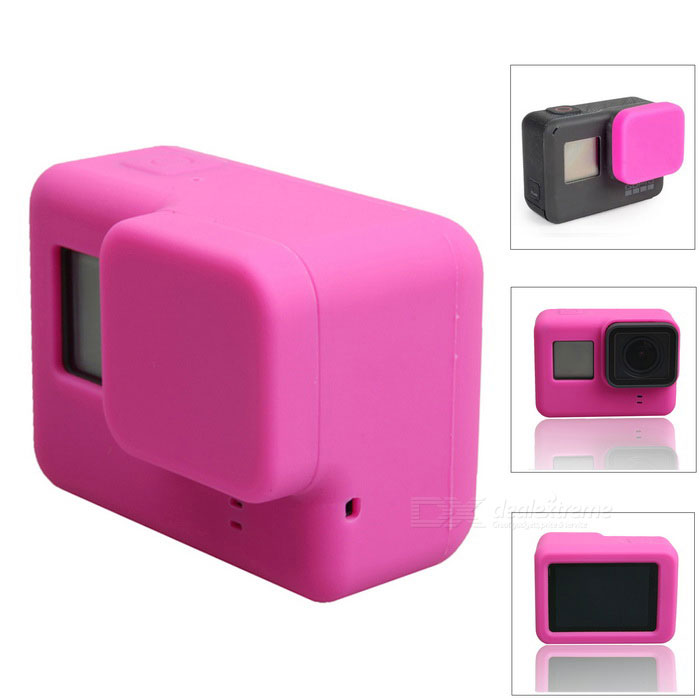 Protective Silicone Case + Lens Cap Cover for GoPro Hero 5 - Deep PinkBags &amp; Cases<br>Form  ColorDeep PinkModelN/AQuantity1 DX.PCM.Model.AttributeModel.UnitMaterialSiliconeShade Of ColorPinkCompatible ModelsOthers,GoPro Hero 5Water ResistantNOAnti-ShockNoSizeOthers,6.5 * 4.7 * 2.3cmDimension6.5 * 4.7 * 2.3 DX.PCM.Model.AttributeModel.UnitInner Dimension6.4 * 4.6 * 2.2cmPacking List1 * Silicone sase1 * Lens cover<br>