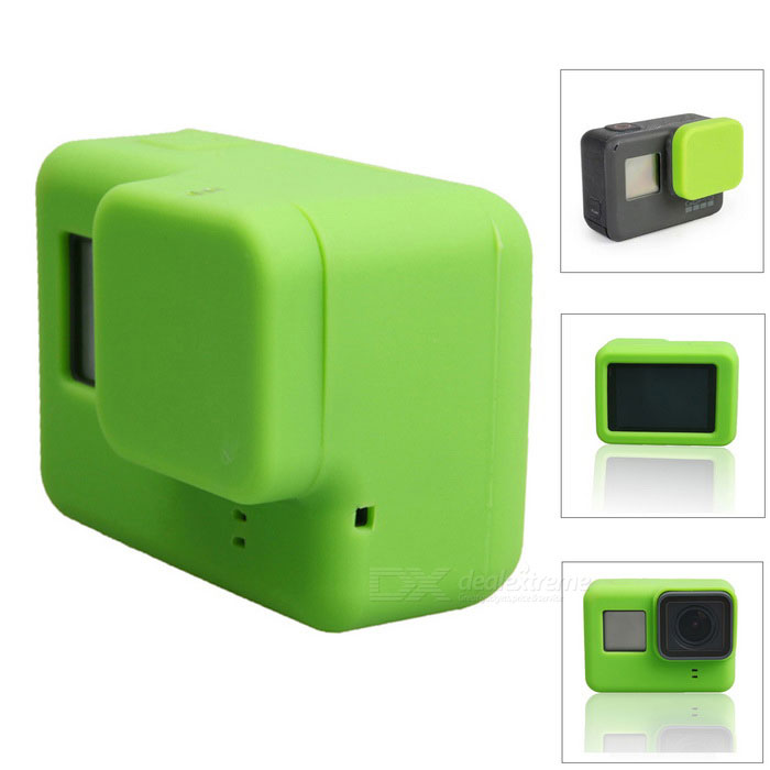 Protective Silicone Case + Lens Cap Cover for GoPro Hero 5 - GreenBags &amp; Cases<br>Form  ColorGreenQuantity1 DX.PCM.Model.AttributeModel.UnitMaterialSiliconeShade Of ColorGreenCompatible ModelsOthers,GoPro Hero 5Water ResistantNOAnti-ShockNoSizeOthers,6.5*4.7*2.3Dimension6.5*4.7*2.3 DX.PCM.Model.AttributeModel.UnitInner Dimension6.4*4.6*2.2Packing List1 * Silicone case1 * Lens cover<br>