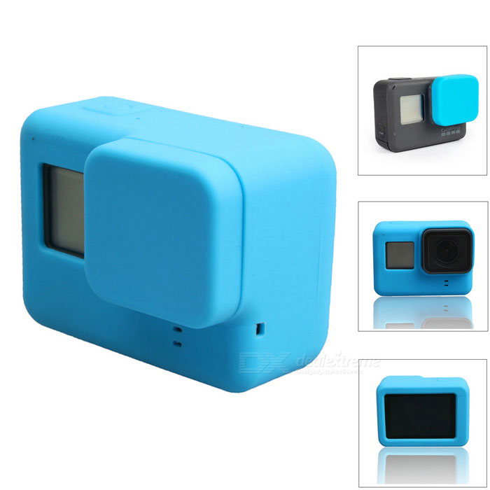 Protective Silicone Case + Lens Cap Cover for GoPro Hero 5 - BlueBags &amp; Cases<br>Form  ColorBlueQuantity1 DX.PCM.Model.AttributeModel.UnitMaterialSiliconeShade Of ColorBlueCompatible ModelsOthers,GoPro Hero 5Water ResistantNOAnti-ShockNoSizeOthers,6.5*4.7*2.3Dimension6.5*4.7*2.3 DX.PCM.Model.AttributeModel.UnitInner Dimension6.4*4.6*2.2Packing List1 * Silicone case1 * Lens cover<br>