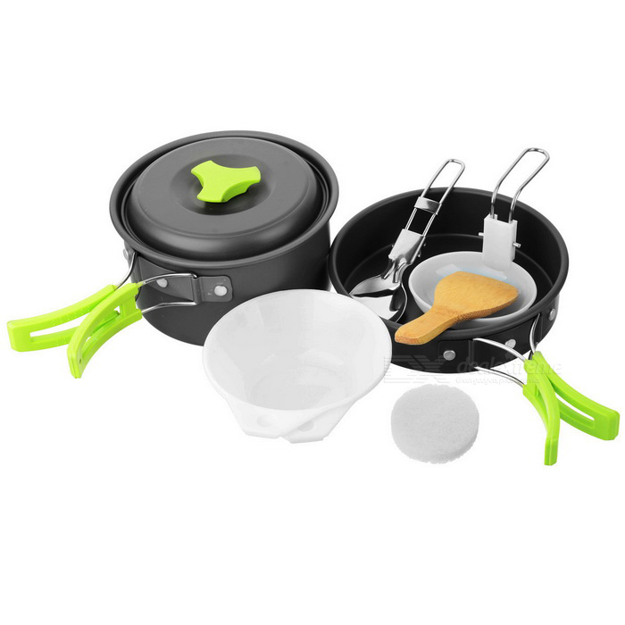 AoTu AT6385 Outdoor Picnic Cooking Pan / Pot Set - Black + GreenForm  ColorBlack + Jade GreenModelAT6385Quantity1 DX.PCM.Model.AttributeModel.UnitMaterialAluminum alloyBest UseCampingTypePots &amp; PansPacking List1 * Pan1 * Pot2 * Bowls1 * Pot cover1 * Soup spoon1 * Rice spoon1 * Cleaner1 * Stainless steel spoon<br>