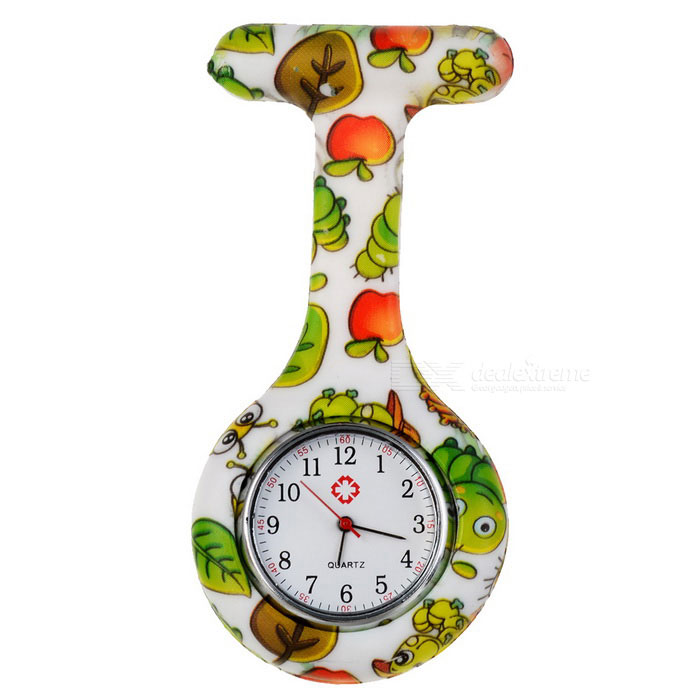 Buy Insects Pattern Silicone Band Quartz Clip-on Watch - White + Green with Litecoins with Free Shipping on Gipsybee.com
