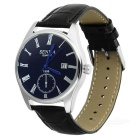 Waterproof Leather Strap Quartz Watch w/ Calendar Fucntion - Black