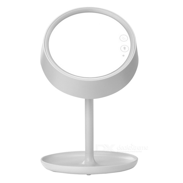 LED Colorful Make-up Mirror Desktop / Bed Lamp - WhiteCosmetic Mirrors<br>Form  ColorWhiteModelM011MaterialABS + mirrorQuantity1 DX.PCM.Model.AttributeModel.UnitShade Of ColorWhiteDimension216mm * 176mm * 255mm; Base: 190 x 190mm; Mirror size: 200 x 140mm; Light pole height: 275 DX.PCM.Model.AttributeModel.UnitOther FeaturesBuilt-in polymer lithium battery with capacity 1800mAh; Input voltage current: DC 5V / 1A; Light surface color temperature: 6000~6500K;  Desktop lamp color temperature: 2800~3200K; Charging time: 2A, needs 3~4 hours; Continuous using time: 8~10 hoursPacking List1 * Desktop lamp1 * Charging cable (100cm)1 * English manual<br>