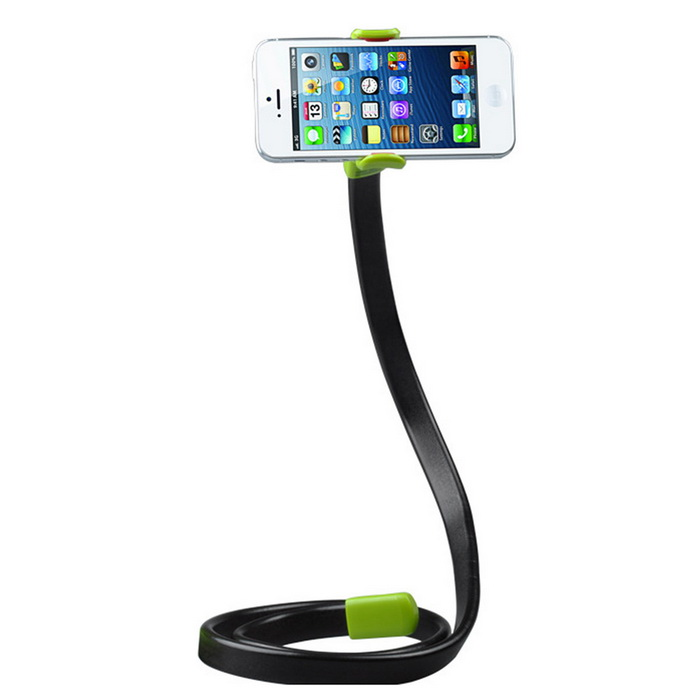 Flexible Car Bed Desk Lazy Bracket for Mobile Phone - Green + BlackMounts &amp; Holders<br>Form  ColorGreen + blackModel-MaterialABSQuantity1 DX.PCM.Model.AttributeModel.UnitMount TypeBedsidePacking List1 * Phone holder1 * Retaining clip<br>