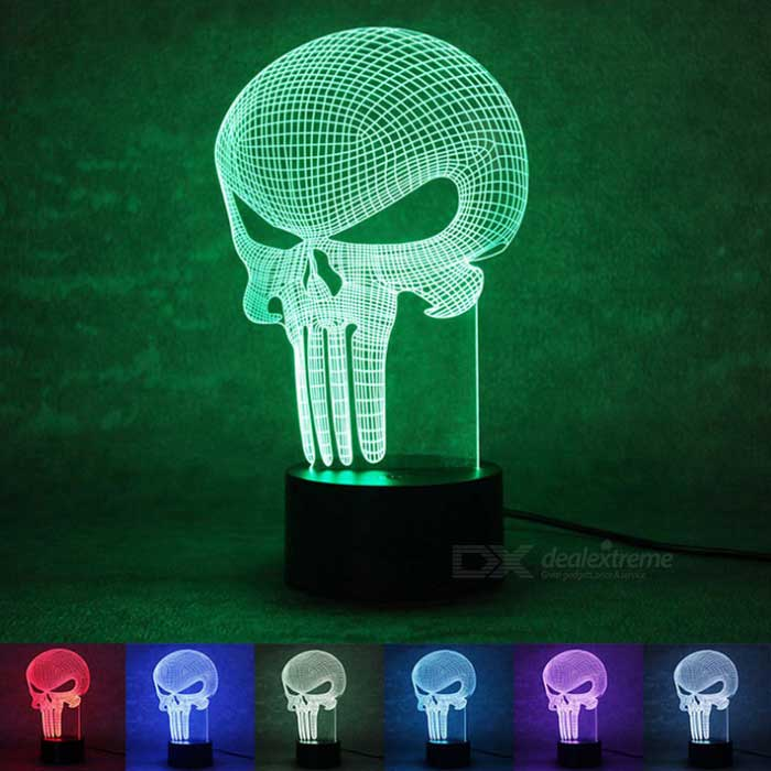3D Stereoscopic Punisher LED Colorful Gradient Table Lamp -TransparentLED Nightlights<br>Form  ColorTransparent + BlackMaterialAcrylic + ABSQuantity1 DX.PCM.Model.AttributeModel.UnitPowerOthers,1.5WRated VoltageOthers,5 DX.PCM.Model.AttributeModel.UnitConnector TypeOthers,USBColor BINMulti-colorEmitter TypeIn-line LEDDimmableYesInstallation TypeInsertedPacking List1 * Acrylic lamp1 * Round base1 * USB data cable (100cm)<br>