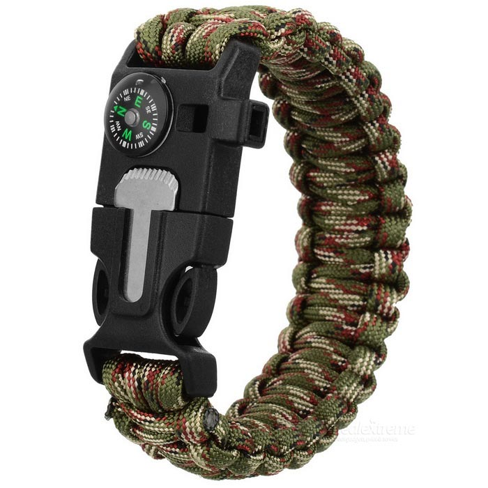 Durable Outdoor Emergency Survival Woven Armband mit Whistle + Kompass