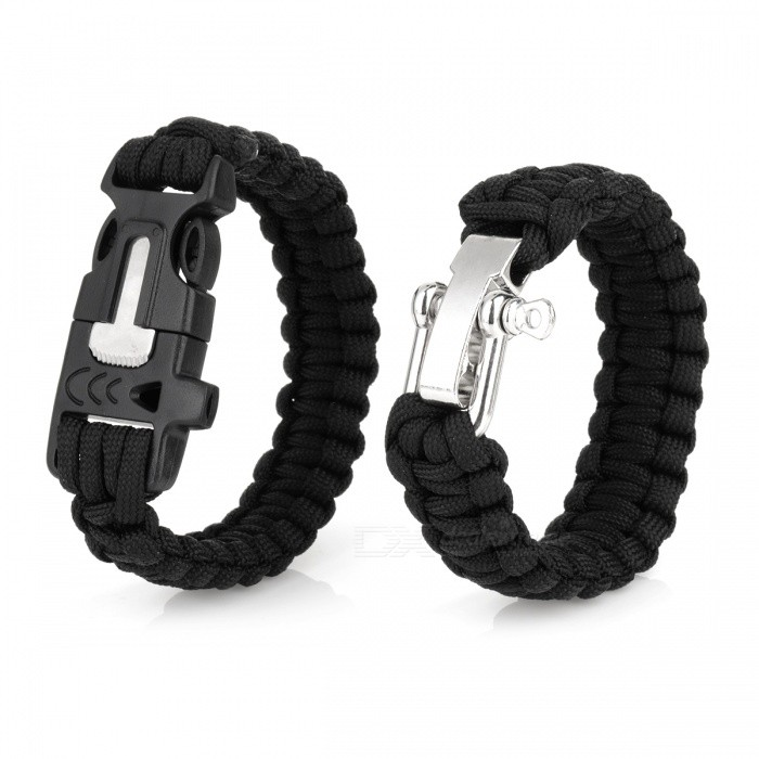 Durable Outdoor Emergency Survival Woven Wristband Bracelet (2 PCS)First Aid<br>Form  ColorBlack + SilverModelN/AQuantity1 DX.PCM.Model.AttributeModel.UnitMaterialNylon + Stainless SteelBest UseFamily &amp; car camping,Mountaineering,Travel,CyclingLength26 DX.PCM.Model.AttributeModel.UnitTypeParacordsPacking List2 * Bracelets<br>