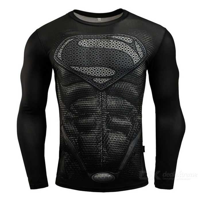 Buy 3D Printing Fast-Drying Long-Sleeved Tight-Fitting Male T-shirt (L) with Litecoins with Free Shipping on Gipsybee.com