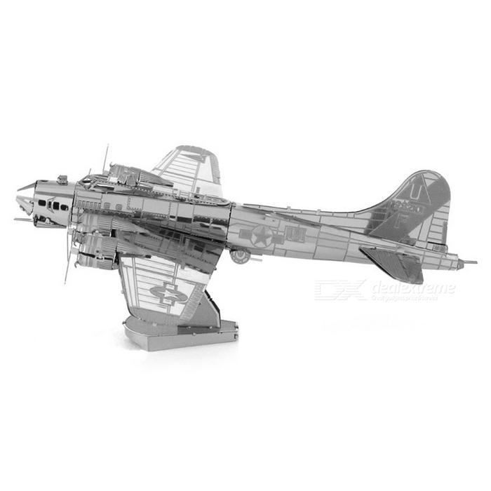 DIY 3D Puzzle Assemble B17 Bomber Model Toy - SilverBlocks &amp; Jigsaw Toys<br>Form  ColorSilverMaterialStainless steelQuantity1 DX.PCM.Model.AttributeModel.UnitNumber2Size11cm * 11cm * 6.4cmSuitable Age 5-7 years,8-11 years,12-15 years,Grown upsPacking List1 * Model Toy<br>