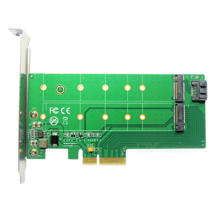 IOCREST SI-PEX40117 PCIe * 4 to NGFF SSD + SATA to NGFF Adapter CardForm  ColorGreenModelSI-PEX40117Quantity1 DX.PCM.Model.AttributeModel.UnitMaterialFR4Supports SystemWin xp,Win 2000,Win 2008,Win vista,Win7 32,Win7 64,Win8 32,Win8 64,MAC OS X,IOS,Linux,Android 4.xPacking List1 * Adapter card1 * English User Manual1 * SATA Cable2 * Screw Drives4 * NGFF M.2 SSD mounting screws<br>