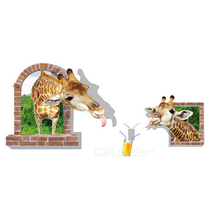 Removable PVC 3D Giraffe Wall Sticker for Decoration - Brown + GreenWall Sticker <br>Form  ColorBrown + GreenShade Of ColorBrownMaterialPVCQuantity1 DX.PCM.Model.AttributeModel.UnitStyleContemporaryDimension60 * 90 DX.PCM.Model.AttributeModel.UnitPacking List1 * Wall Stickers<br>