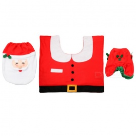 Christmas-Santa-Claus-Three-Piece-Toilet-Cloth-Suits-Set-White-2b-Red
