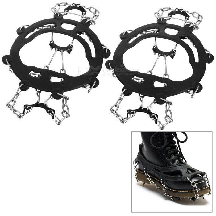 Buy HALIN Anti-Slip Eight Teeth Ice Snowshoeing Crampons - Black (1 Pair) with Litecoins with Free Shipping on Gipsybee.com