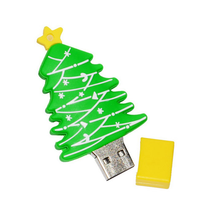USB 2.0 Cartoon Christmas Tree Flash Drive 16GB - Green + Yellow16GB USB Flash Drives<br>Form  ColorGreen + BrownCapacity16GBModelN/AMaterialPVC + aluminum alloyQuantity1 DX.PCM.Model.AttributeModel.UnitShade Of ColorGreenMax Read Speed10MB/sMax Write Speed4MB/sUSBUSB 2.0With IndicatorNoPacking List1 * USB disk<br>