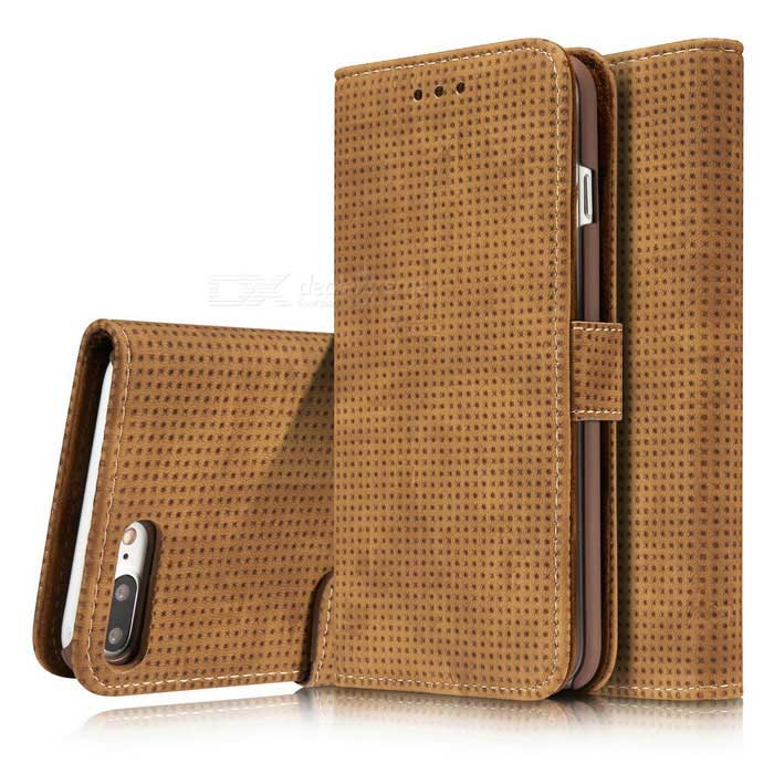 Mesh PC + PU Flip Wallet Case for iPhone 7 Plus - BrownLeather Cases<br>Form  ColorBrownModelN/AQuantity1 DX.PCM.Model.AttributeModel.UnitMaterialPU+PCCompatible ModelsiPhone 7 PLUSStyleFlip OpenDesignMixed Color,With Stand,Card SlotAuto Wake-up / SleepNoPacking List1 * Case<br>