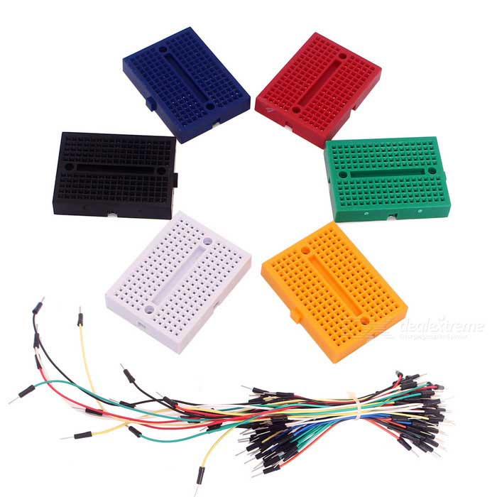 DIY 6pcs 170 Holes Mini Breadboards + 65pcs Breadboard Jumper Cables