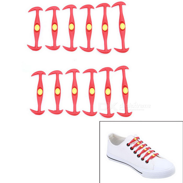 Buy Horn-Shaped Cat Eye Silicone No Tie Lazy Shoelaces - Red (12 PCS) with Litecoins with Free Shipping on Gipsybee.com