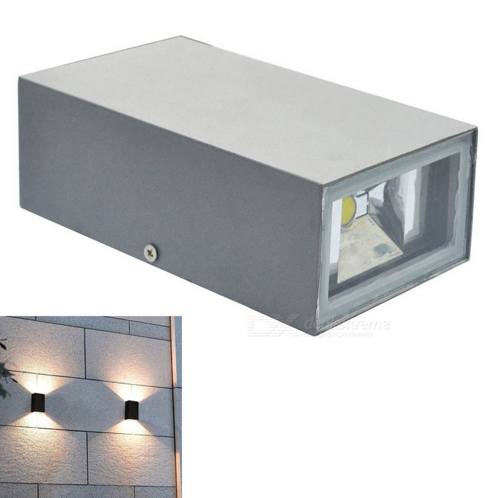 JIAWEN 6W Outdoor Waterproof IP65 Aluminum Warm White Light Wall LampLandscape Lamps<br>Form  ColorGreyMaterialAluminumQuantity1 DX.PCM.Model.AttributeModel.UnitWaterproof LevelIP65Power6WRated VoltageAC 85-265 DX.PCM.Model.AttributeModel.UnitChip BrandCreeEmitter TypeCOBTotal Emitters2Theoretical Lumens480-520 DX.PCM.Model.AttributeModel.UnitActual Lumens480-520 DX.PCM.Model.AttributeModel.UnitColor BINWarm WhiteColor Temperature3000-3200KDimmableNoInstallation TypeWall MountOther FeaturesPower cord: 30cmPacking List1 * Wall light<br>