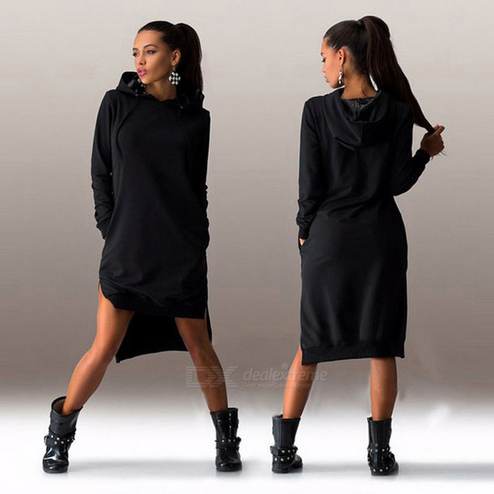 Fashion Irregular Spandex Long-Sleeved Hooded Dress - Black (M) for sale for the best price on Gipsybee.com.