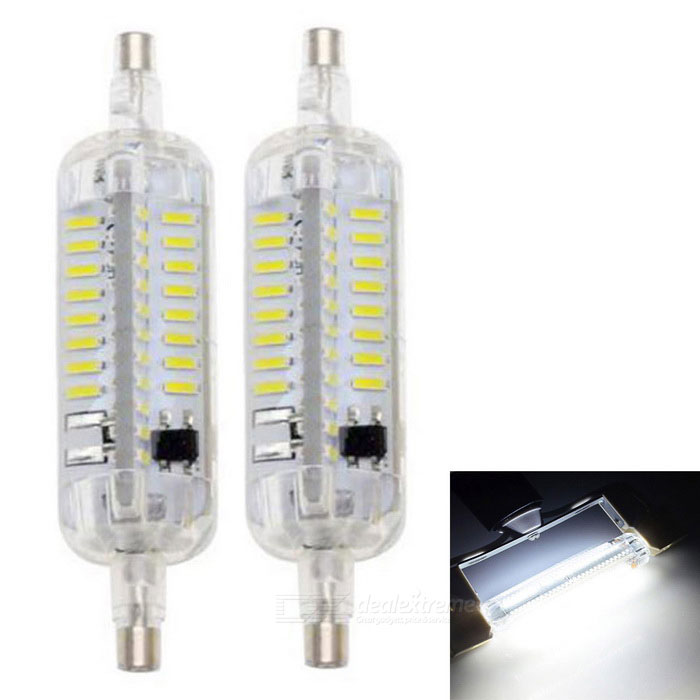 JRLED R7S 7W LED Bulb Lamps Cold White Light 76 SMD (2PCS)Color BINCold WhiteModelN/AMaterialTransparent silicone + LEDForm  ColorTransparent + White + Multi-ColoredQuantity2 DX.PCM.Model.AttributeModel.UnitPower7WRated VoltageAC 220 DX.PCM.Model.AttributeModel.UnitConnector TypeOthers,R7SChip BrandEpistarChip Type4014 SMDEmitter TypeOthers,4014 SMDTotal Emitters76Theoretical Lumens700 DX.PCM.Model.AttributeModel.UnitActual Lumens650 DX.PCM.Model.AttributeModel.UnitColor Temperature6500KDimmableNoBeam Angle360 DX.PCM.Model.AttributeModel.UnitWavelengthN/ACertificationCE, RoHSOther FeaturesThis product uses 76 bright 4014 lamp power only do 7W, the quantity of heat is greatly reduced, and the use of transparent silicone heat, use long life, brightness is 1.5 times that of similar products brightness. Perfect alternative to the traditional ultra high energy consumption of solar tubes, cross inserted lights, double ended tube.Packing List2 * Lights<br>