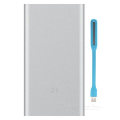 Xiaomi 10000mAh Quick Charge Mobile Power II + Blue LED Light - Silver