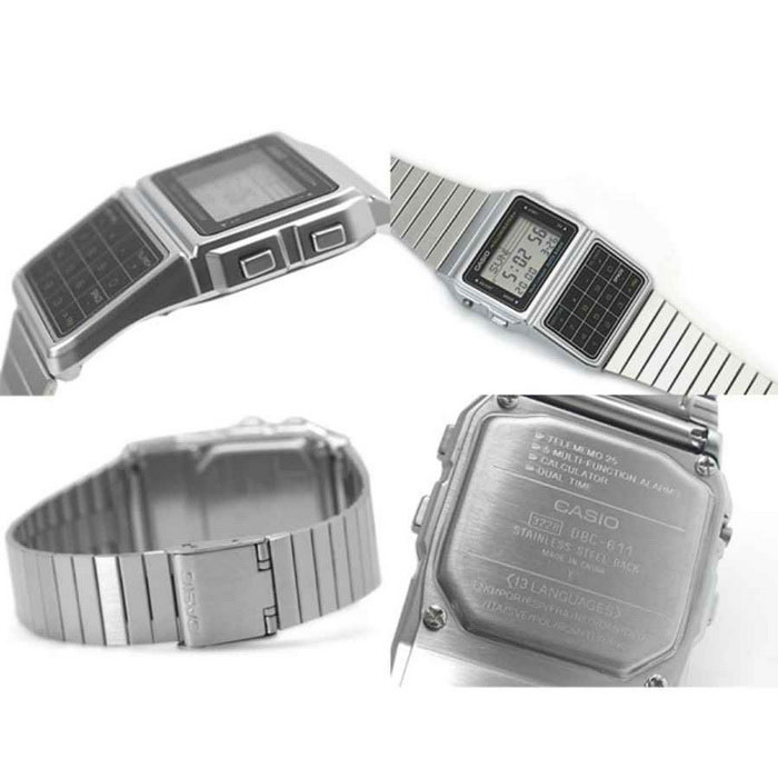 cb2fc7a2d9f Casio DBC-611-1DF Databank Calculator Watch-Silver+Black (Without ...