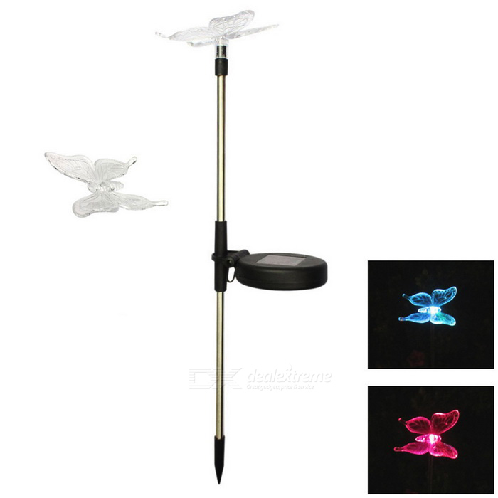 MLSLED Butterfly RGB Colorful LED Solar Inserted Garden LightSolar Lamps<br>Form  ColorTransparent + Black + Multi-ColoredModelMLS-CDD-0.5W-02MaterialAluminum + PCQuantity1 DX.PCM.Model.AttributeModel.UnitWaterproof LevelIP44Emitter Type3528 SMD LEDPower0.5 DX.PCM.Model.AttributeModel.UnitWorking Voltage   1.2 DX.PCM.Model.AttributeModel.UnitWorking Current300m DX.PCM.Model.AttributeModel.UnitBattery Capacity300 DX.PCM.Model.AttributeModel.UnitLumens20~40 DX.PCM.Model.AttributeModel.UnitBattery Charging Time4~6Working Time6~10 DX.PCM.Model.AttributeModel.UnitPacking List1 * LED Light<br>