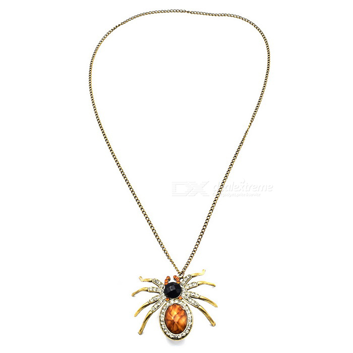 Personality Punk Style Spider Diamond Long Necklace for Decoration