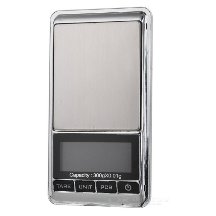 JEDX 1.8 Electronic 5-Digital LCD Display Jewelry Scale (300g/0.01g)Digital Scales<br>Form  ColorSilver + Black + Multi-ColoredModel-Quantity1 DX.PCM.Model.AttributeModel.UnitMaterialPlasticTypeJewelry Scale,Kitchen ScaleScreen Size1.8Max. Weight300gMin. Weight0.05gUnitgDivision0.01gAuto Power OffYesPowered ByAAA BatteryBattery Number2Battery included or notNoPacking List1 * Electronic digital scale1 * 5g Weight1 * User manual (English / Chinese)<br>