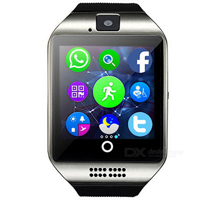 Q18 MTK6261D Smart Watch w/ Built-in Facebook WhatsApp-SilverSmart Watches<br>Form  ColorSilverModelQ18Quantity1 DX.PCM.Model.AttributeModel.UnitMaterialStainless + siliconeShade Of ColorSilverCPU ProcessorMTK6261DScreen Size1.54 DX.PCM.Model.AttributeModel.UnitScreen Resolution240*240Touch Screen TypeCapacitive ScreenNetwork Type2GCellularGSMSIM Card TypeMicro SIM,Smartphone mateBluetooth VersionBluetooth V3.0Operating SystemAndroid 4.4,Android 4.4.1,Android 4.4.2,iOS,Android 5.0,Android 5.1,Android 6.0,Android 7.0Compatible OSAndroid OSLanguageEnglish,French,Spanish,German,Poland,Portuguese,Nerland,Turkey,Russian,Greek,FarsiWristband Length28.5 DX.PCM.Model.AttributeModel.UnitWater-proofNoBattery ModeReplacementBattery TypeLi-polymer batteryBattery Capacity500 DX.PCM.Model.AttributeModel.UnitStandby Time72 DX.PCM.Model.AttributeModel.UnitOther FeaturesTouch Screen:2.5D Full arc capacitive touch screen;<br>Camera:0.7M pixel;<br>Famous software which are built-in the smart watch at the same time: Facebook,WhatsApp.Packing List1 * Smart Watch1 * USB Cable (51cm)1 * English Manual<br>