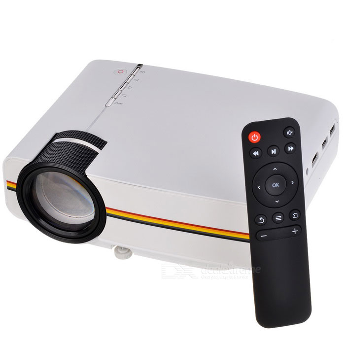 YG400 AC 100~240V 50W 100 HD LED Projector w/ Remoter - White + BlackProjectors<br>Form  ColorWhite + BlackBrandOthers,-ModelYG400Quantity1 DX.PCM.Model.AttributeModel.UnitMaterialABSShade Of ColorWhiteTypeLCDChipsetMST6M182VGBrightnessUnder 1000 lumensBrightness1,000 DX.PCM.Model.AttributeModel.UnitMenu LanguageEnglishBuilt-in SpeakersYesLife Span30,000 DX.PCM.Model.AttributeModel.UnitEmitter BINLEDDisplay Size50~100 inchAspect Ratio16:9Contrast Ratio8001:1-10000:1Pixels800 * 480Native ResolutionWVGA 800*480Maximum ResolutionUnder 720PMaximum Resolution1920 * 1080Throw Distance1.5~3mBuilt-in Memory / RAMNoStorageNoExternal MemoryMax.32GB SD cardAudio FormatsMP3,WMA,APE,FLAC,OGG,AACVideo FormatsRM,RMVB,AVI,MKV,MP4Picture FormatsJPEG,BMP,PNGInput ConnectorsAV,VGA,USB,HDMIInput ConnectorsHDMIOutput Connectors3.5mmPower Consumption40~59WPower Consumption50WPower SupplyAC 100~240V, 50/60HzPower AdapterUS PlugPacking List1 * Projector1 * 3.5mm to RCA cable1 * Power cord1 * Remoter1 * Package<br>